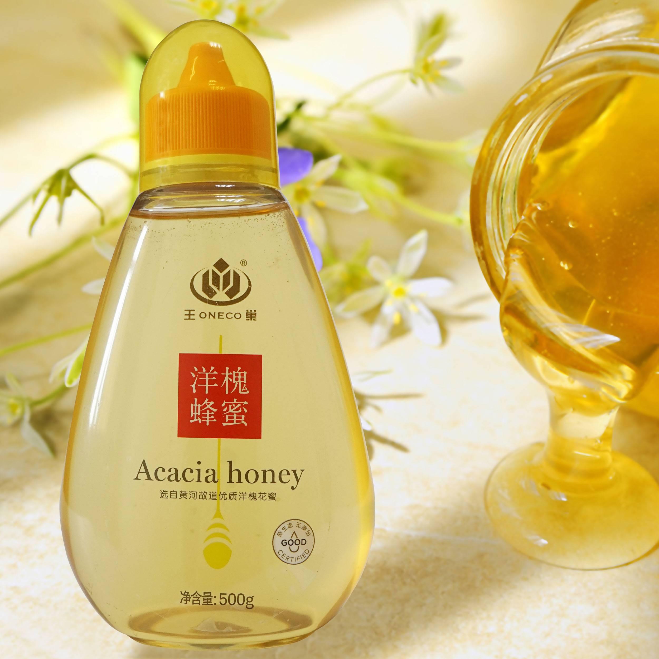 王巢洋槐蜂蜜 天然野生农家自产洋槐蜜土槐花蜜 包邮500克 塑料瓶