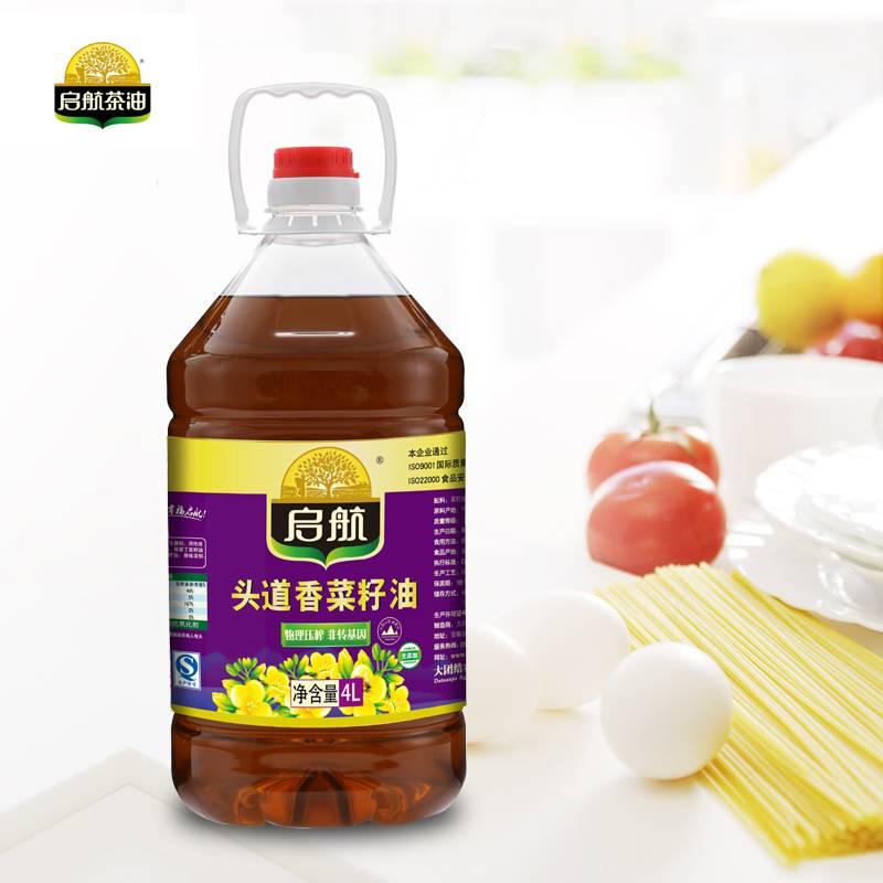 启航  头道香菜籽油4L/桶装 食用油 非转基因物理压榨  包邮