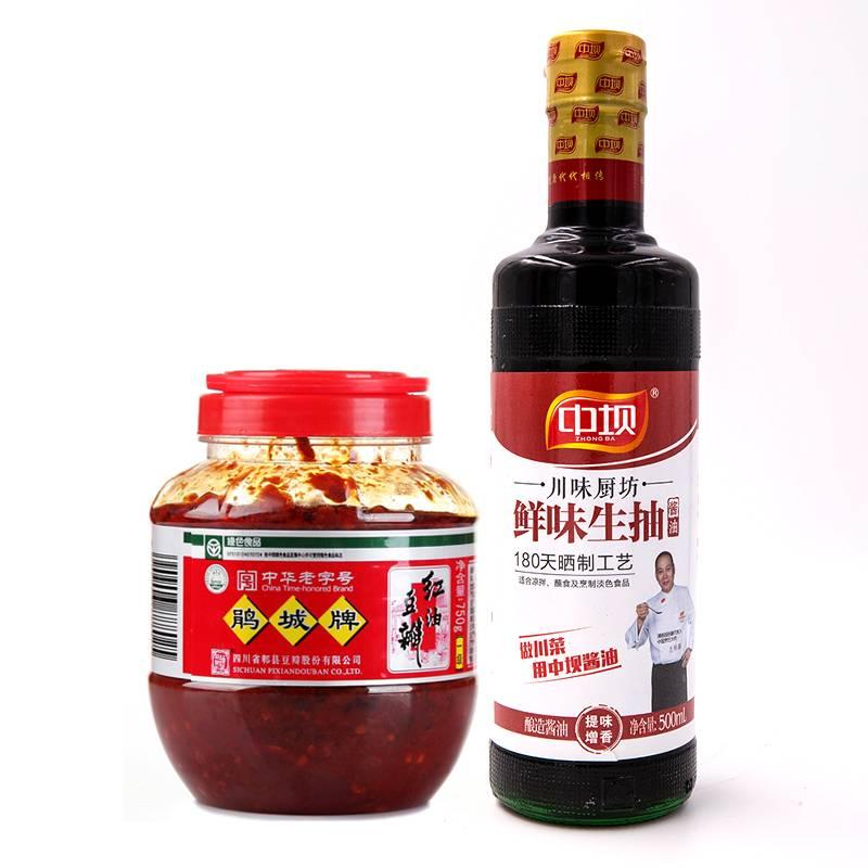 【年货节特卖】 鹃城红油豆瓣500克圆瓶一瓶+中坝鲜味生抽一瓶